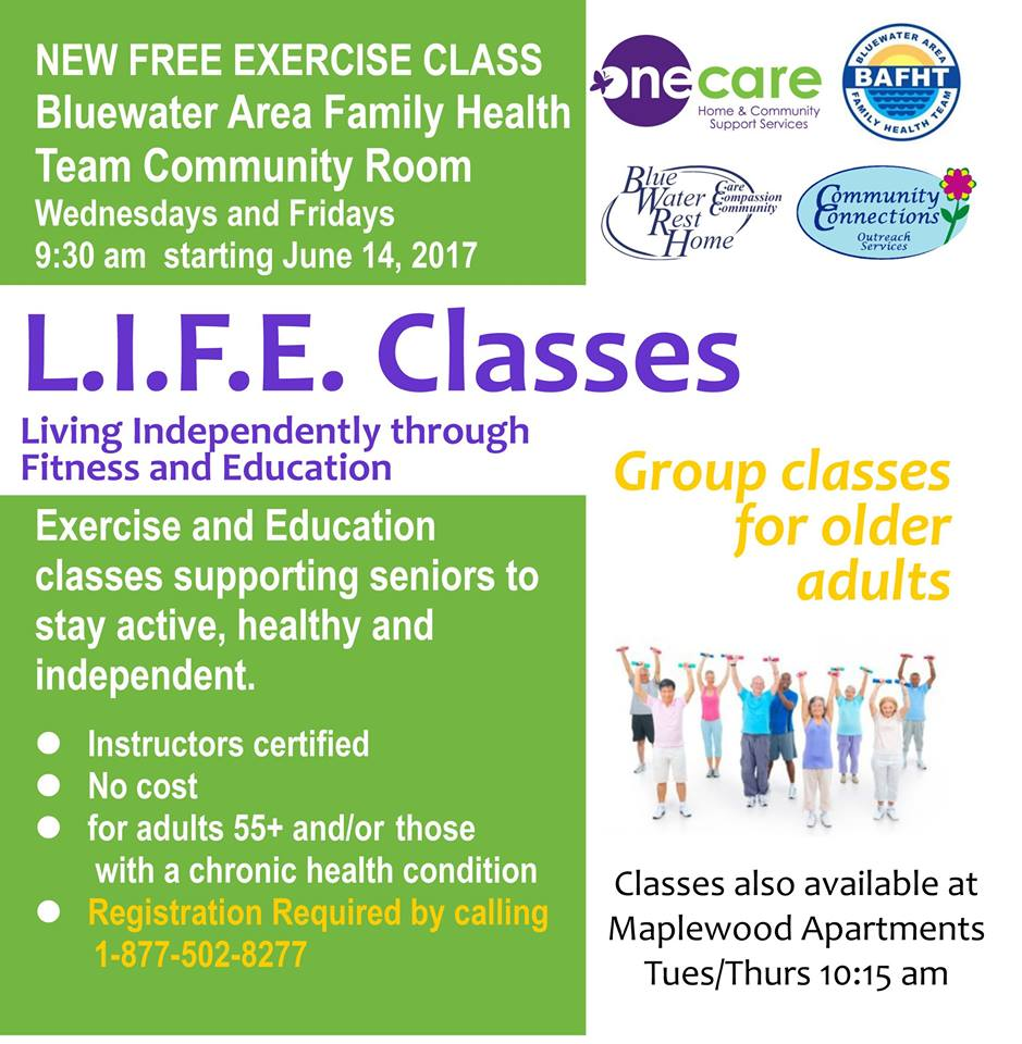 Living independently through fitness and education.  Free Exercise Class Poster